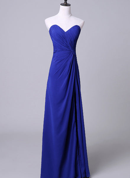 Royal Blue Sweetheart Bridesmaid Dress, Charming Simple Junior Prom Dress