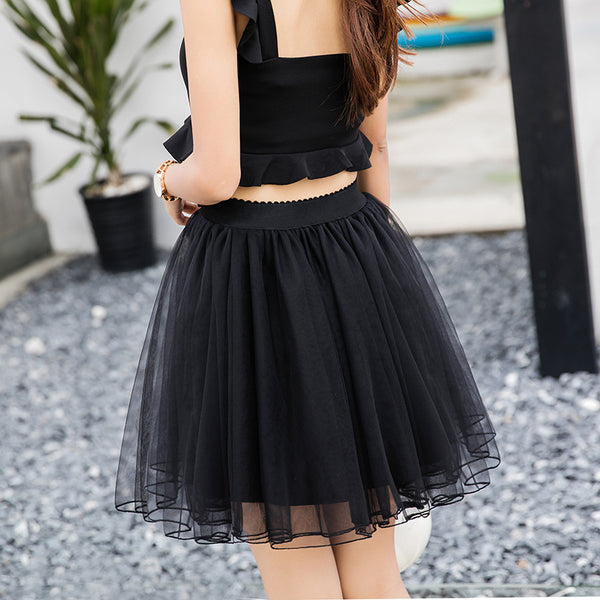 Cute Black High Quality Mini Skirt with Belt, Lovely Tulle Skirts