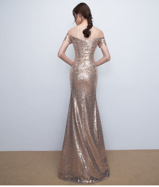 Off Shoulder Sequins Mermaid Wedding Party Dress, Lovely Formal Gown