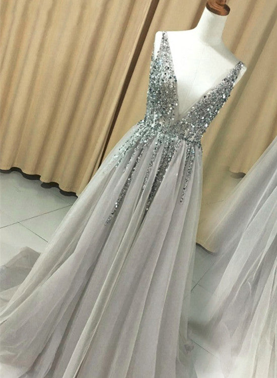 Grey Prom Dress 2018 Fashionable Tulle Long Party Dress Formal