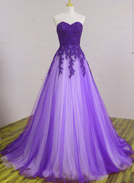 Beautiful Sweetheart Purple Tulle Ball Gowns, Evening Gowns, Prom Dresses for Junior