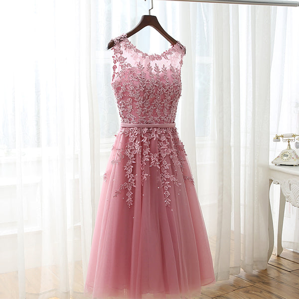 Beautiful Wine Red Tulle Tea Length Homecoming Dresses, Beaded Pretty Vintage Style Prom Dress