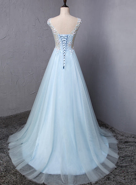 Light Blue Charming Gown, Blue Prom Dress 20188, Junior Party Dresses