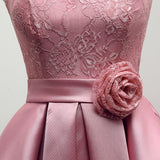 Lovely Lace and Satin Short Party Dress, Cute Homecoming Dress