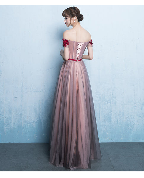 Pink Off Shoulder Floor Length Bridesmaid Dress, A-line Off Shoulder Prom Dress