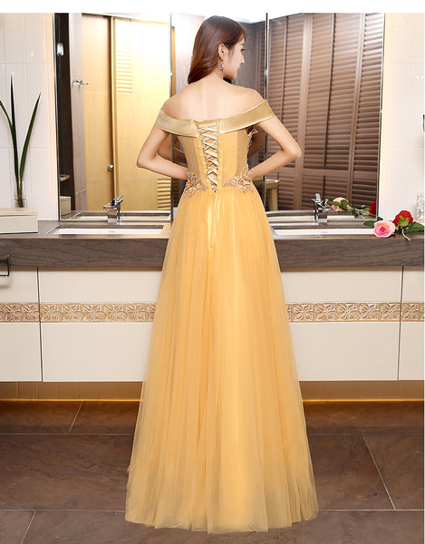 Beautiful Gold Off Shoulder Long Tulle Junior Prom Dress, Lace-up Evening Dress