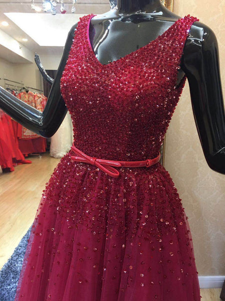 Beautiful Wine Red Tulle Beaded V-neckline Formal Dress, Tulle Party Gowns 2019