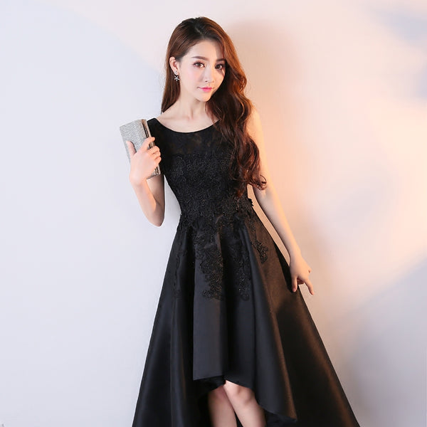 Beautiful Black Satin and Lace High Low Round Party Dress, Black Formal Dress 2019