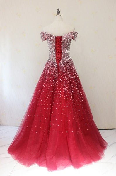 Red Tulle Beaded Off the Shoulder Long Party Gown, Red Formal Dresses 2019
