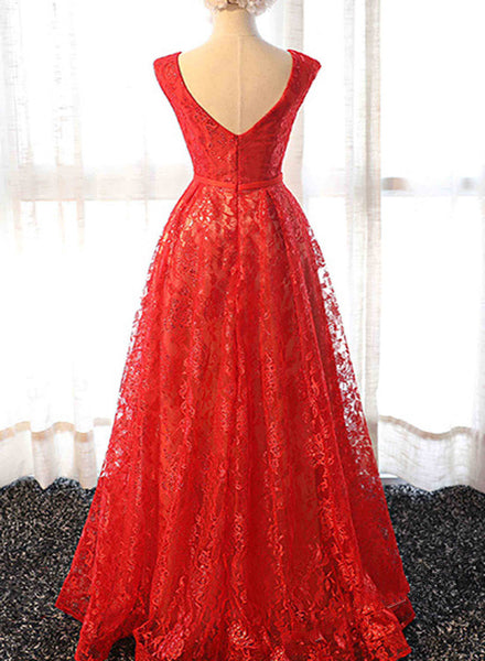 Beautiful Red Lace Long Party Dress 2019, Red Lace Formal Dress 2019