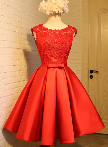 Red Lace Knee Length Party Dress 2019, Cute V Back Formal Dress, Teen Homecoming Dresses