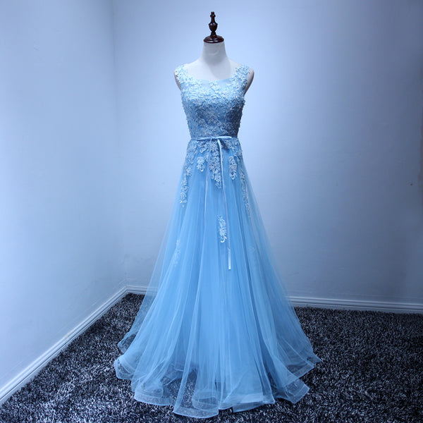 Light Blue Beautiful A--line Floor Length Senior Prom Dress, Formal Dress 2019