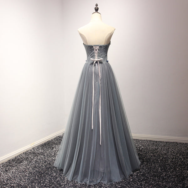 Blue Tulle Sweetheart Long A-line Party Dress, Formal Gowns 2019