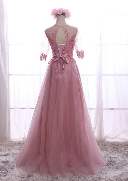 Lovely Dark Pink 1/2 Sleeves Tulle Bridesmaid Dress, Wedding Party Dress 2019