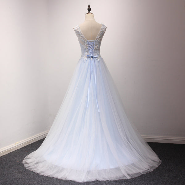 Elegant Light Blue Long Party Dress, A-line Prom Dress