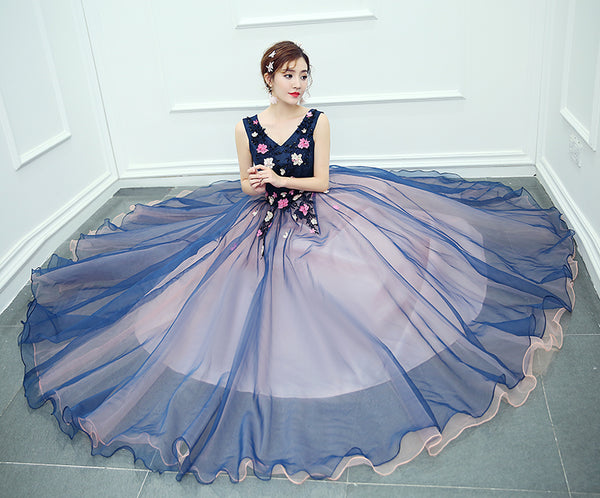 Beautiful Pink and Blue Organza Long Party Dress, Sweet 16 Gown