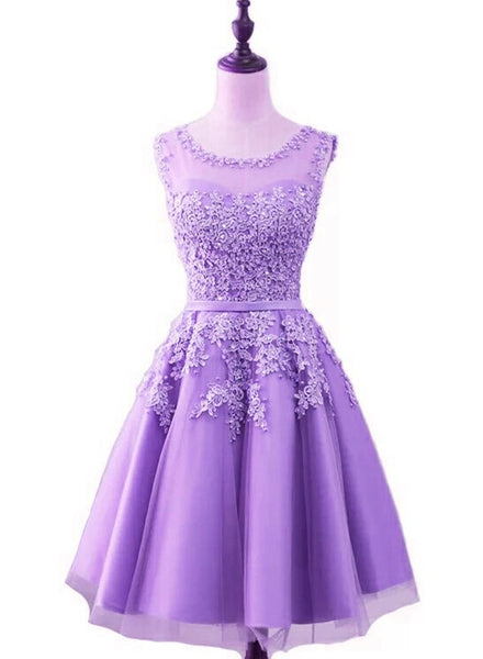 Purple Short Tulle Beaded Round Neckline Knee Length Party Dress, Junior Prom Dress 2019