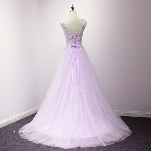 Lovely Tulle Round Neckline with Flowers, Long Wedding Party Dreses