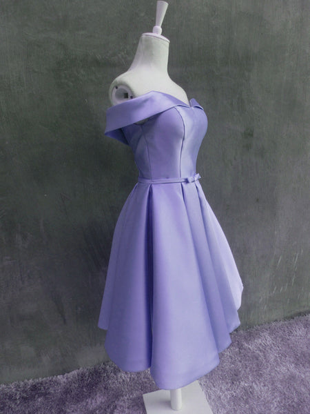 Beautiful Light Purple Short Satin Party Dress 2019, Purple Homecoming Dress 2019