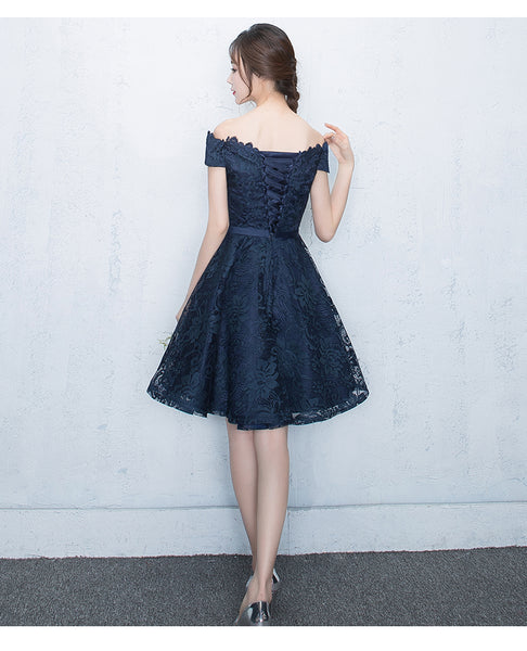 Lovely Blue Lace Short Party Dress, Lace Formal Dress 2020
