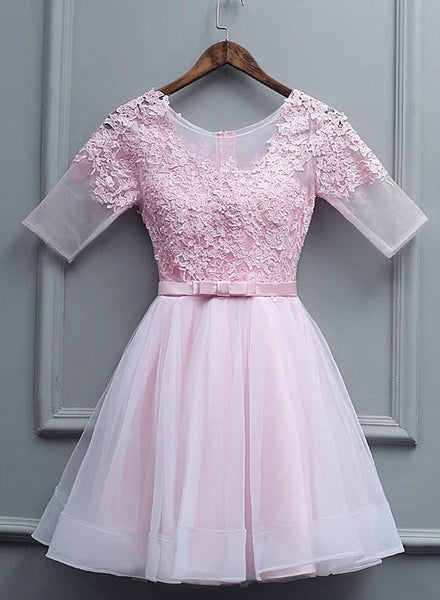 Lovely Pink Tulle Short Party Dress, Pink Homecoming Dress 2020