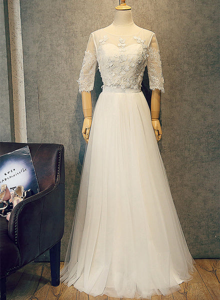 Beautiful White Tulle Two Piece Lace Party Dress, Simple White Evening Gown