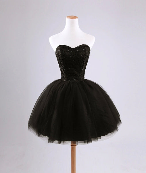Beautiful Black Short Lace and Tulle Homecoming Dress, Sweetheart Short Prom Dress