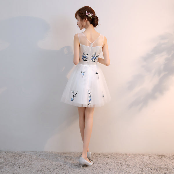 Beautiful White Short Tulle with Blue Embroidery Graduation Dress, New Formal Dress 2019