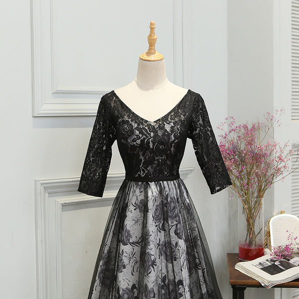 Charming Black Short Sleeves Lace Party Dress, Bridesmaid Dress 2020