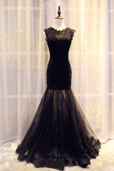 Gorgeous Black Mermaid Lace and Tulle Evening Gowns, Charming Lace Party Dresses