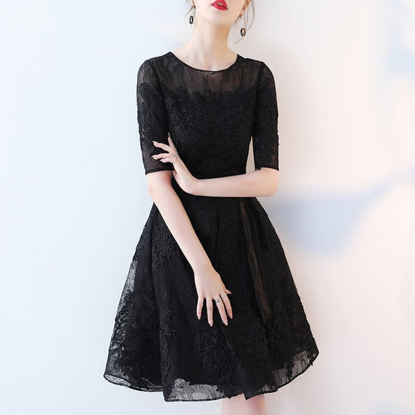 Cute Black Lace Short Sleeves Party Dress, Black Lace Homecoming Dress