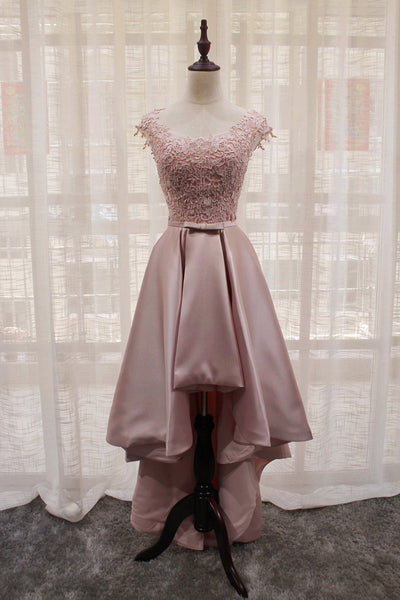Beautiful Light Pink Round Neckline High Low Lace and Satin Prom Dress, Pink Homecoming Dresses