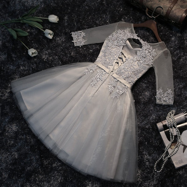 Grey Short Sleeves Homecoming Dresses, Elegant Tulle Graduation Dress, Lovely Party Dress