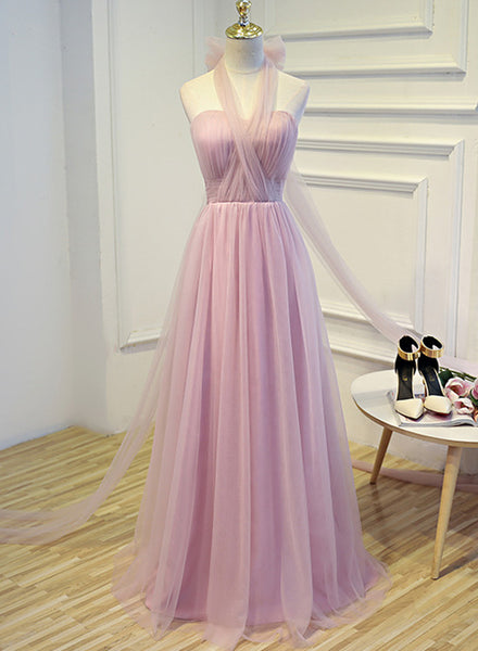 Simple Halter Tulle Long Formal Dress, Handmade Formal Gown with Bow