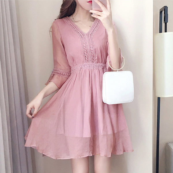 Lovely Pink Summer Dress, Dark Pink Women Dress 2019