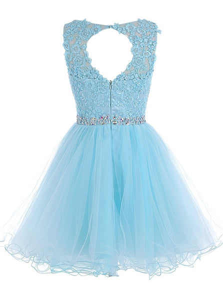 Beautiful Royal Blue Tulle Beaded Short Party Dress, Charming Formal Dresses 2019
