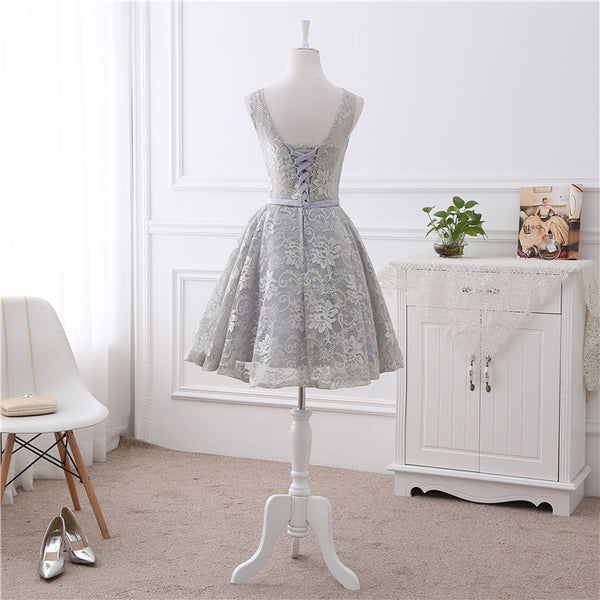 Cute Short Grey Lace Briesmaid Dress, Knee Length Homecoming Dress Short Prom Dress