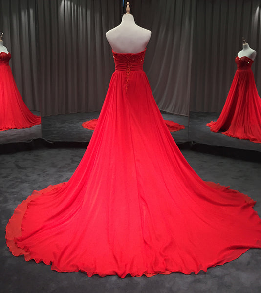 High Quality Handmade Red Chiffon Long Prom Dresses, Slit Party Dresses, Floor Length Evening Dress