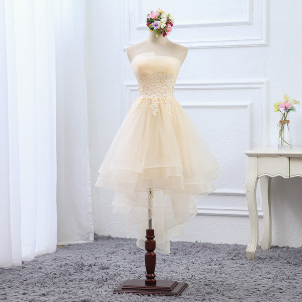 Light Champagne High Low Tulle Layers Homecoming Dress, Cute Short Prom Dress