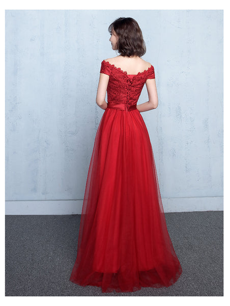 Beautiful Red Sweetheart Lace Top Long Party Dress, Off Shoulder Prom Dress