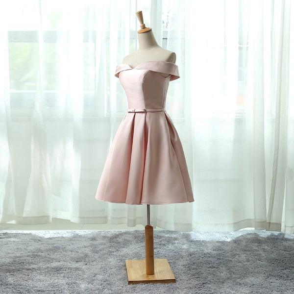 Pink Satin Off Shoulder Knee Length Party Dress, Cute Formal Dress 2019