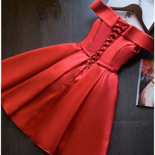 Red Satin Short Homecoming Dress, Off Shoulder Lace-up Formal Dress