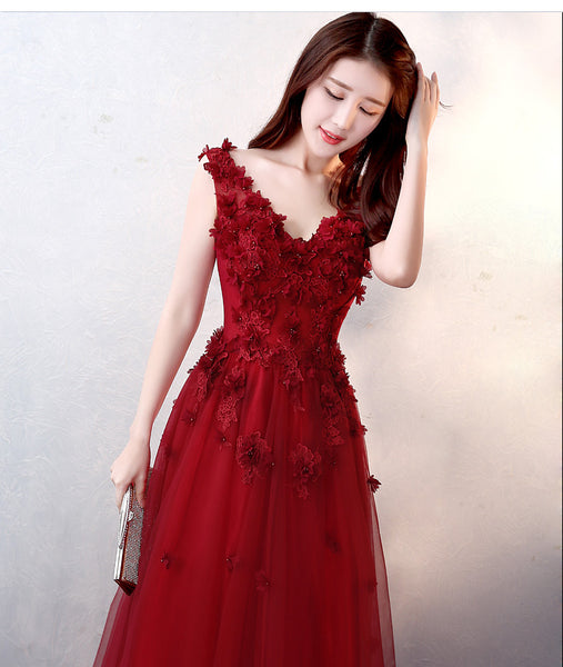 Beautiful Flowers and Lace Applique Wine Red Evening Gowns, Wine Red Formal Dress 2018