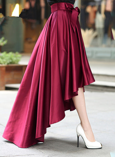 Women High Low Skirt with Belt, Burgundy Skirt, Women Skirts