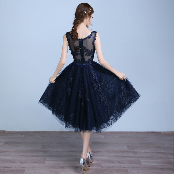 Navy Blue Lace and Tulle Tea Length Round Neckline Party Dress, Blue Wedding Party Dresses