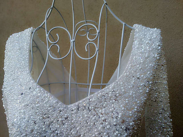Beautiful White Pearls and Beadings Long Sleeves Party Dress, White Formal Gown