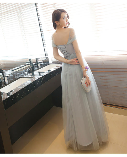 Lovely Simple Grey Tulle Floor Length Party Dress, Grey Bridesmaid Dresses 2019