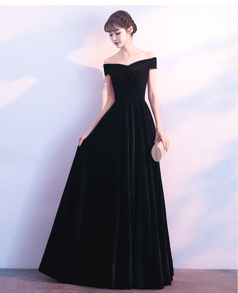 Black Off Shoulder Velvet Long Bridesmaid Dress, Elegant Black Party Dress