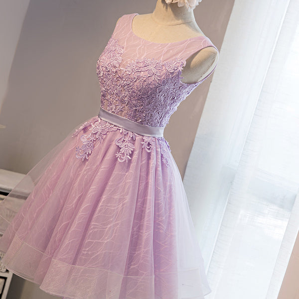 Light Purple Short Tulle Lace Cute Round Neckline Homecoming Dress, Short Formal Dress, Prom Dress 2019