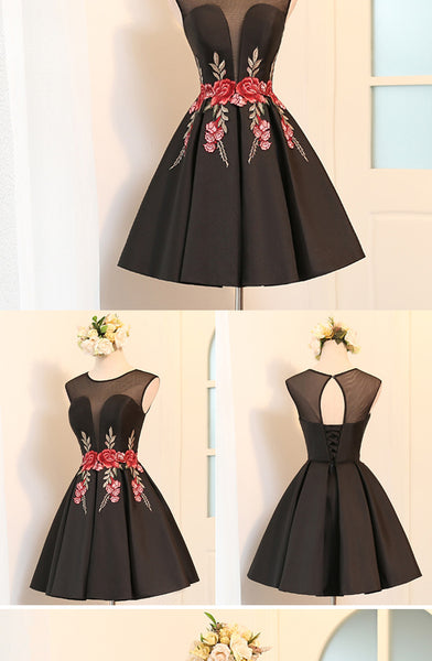 Beautiful Satin Short Cute Party Dress in Stock, Lovely Formal Dresses, Homecoming Dress with Embroidery
